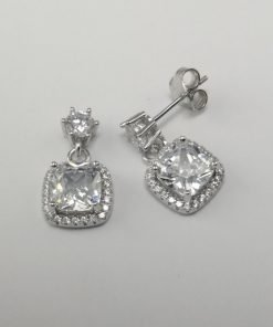 Silver Stud Earrings - 7mm Cushion Cut Cubic Zirconia Halo