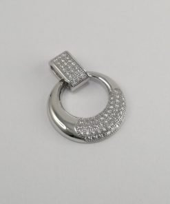 Silver Pendants - 23mm Cubic Zirconia Encrusted Pendant