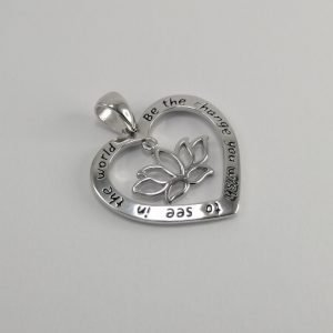 Silver Pendants - 22mm Heart with Lotus Flower Cut Out