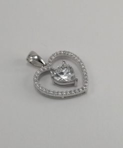 Silver Pendants - 17mm Cubic Zirconia Heart