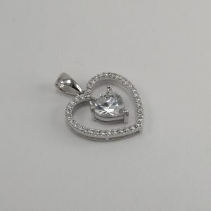 Silver Pendants - 17mm Cubic Zirconia Heart