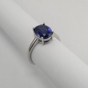 Silver Rings - 10mm Oval Blue Cubic Zirconia Solitaire