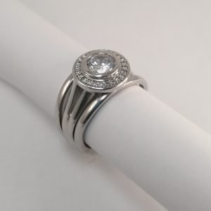Silver Rings - 5mm Tube Set Cubic Zirconia Halo Tripset