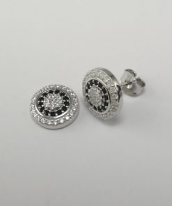 Silver Stud Earrings - 11mm Black and Clear Cubic Zirconia