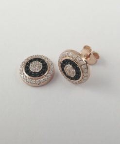 Silver Stud Earrings - 11mm Rose Gold Plated Black and Clear Cubic Zirconia