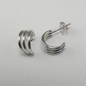 Silver Hoop Earrings - 12mm Tri Wire