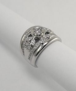 Silver Rings - 3mm Cubic Zirconia with Leaf Detail