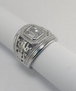 Silver Rings - 8mm Emerald Cut Cubic Zirconia with Pierced Detail