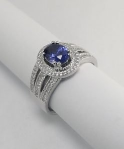 Silver Rings - 8mm Blue Oval Cubic Zirconia with Split Shank