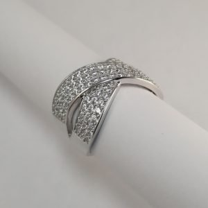 Silver Rings - 13mm Pave Set Cubic Zirconia Crossover