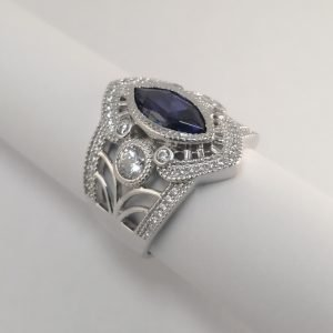 Silver Rings - 12mm Blue Marquise Cubic Zirconia with Detail