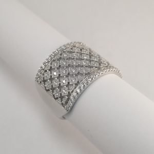 Silver Rings - 15mm Cubic Zirconia Encrusted Band