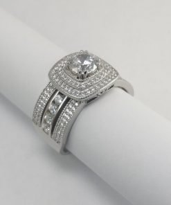 Silver Rings - 6mm Cubic Zirconia Double Halo