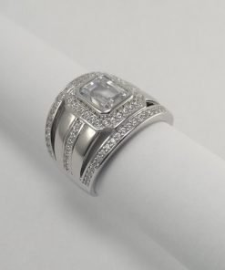Silver Rings - 8mm Emerald Cut Halo with Split Shank