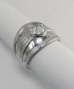Silver Rings - 9mm Oval Tube Set Cubic Zirconia