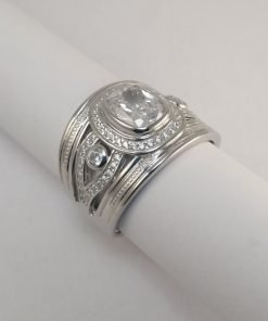 Silver Rings - 8mm Cushion Cut with Detail