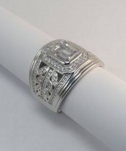 Silver Rings - 7mm Emerald Cut Cubic Zirconia with Leaf Detail