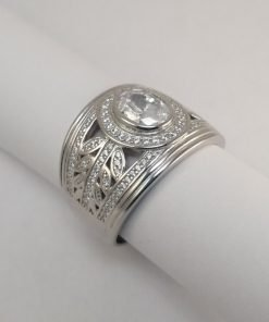 Silver Rings - 7mm Oval Cut Cubic Zirconia with Leaf Detail