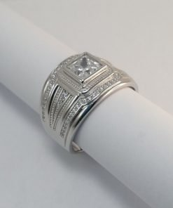 Silver Rings - 6mm Square Tube Set Cubic Zirconia
