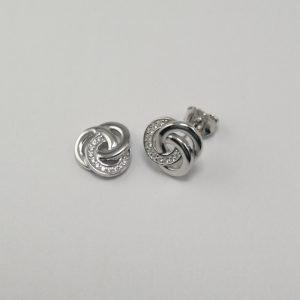 Silver Stud Earrings - 10mm Cubic Zirconia Knot