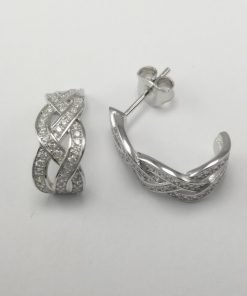 Silver Hoop Earrings - 18mm Plaited Cubic Zirconia