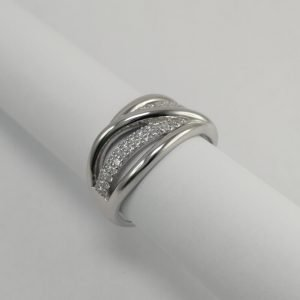 Silver Rings - 11m Pave Set Cubic Zirconia Crossover