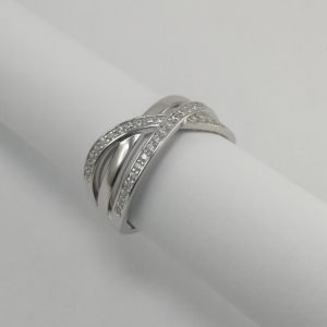 Silver Rings - 10mm Pave Set Flat Cubic Zirconia
