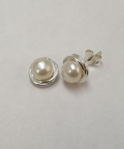 Silver Stud Earrings - 6mm Freshwater Pearl with Wire Rim