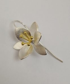 Silver Drop Earrings - 43mm Yellow Gold Plated Flower