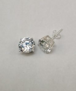 Silver Stud Earrings - 9mm Claw Set Cubic Zirconia