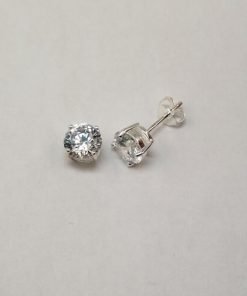 Silver Stud Earrings - 5mm Claw Set Cubic Zirconia