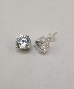 Silver Stud Earrings - 7mm Claw Set Cubic Zirconia