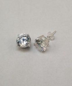 Silver Stud Earrings - 8mm Claw Set Cubic Zirconia