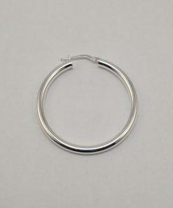 Silver Hoop Earrings - 36mm Round Tube