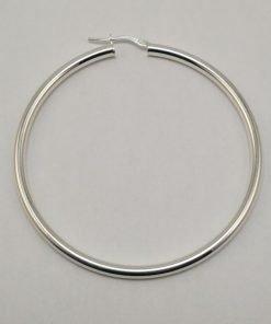 Silver Hoop Earrings - 55mm Round Tube
