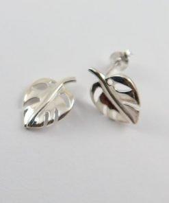 Silver Stud Earrings - 16mm Leaf