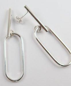 Silver Drop Earrings - 55mm Bar and Oblong