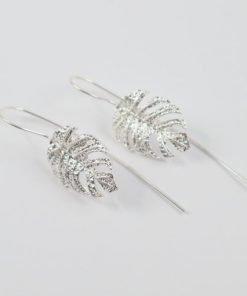 Silver Drop Earrings - 50mm Textured Monstera Leaf