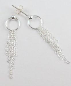 Silver Stud Earrings - 36mm Dangling Chain
