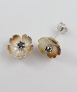 Silver Stud Earrings - 10mm Mother of Pearl with Black Diamond