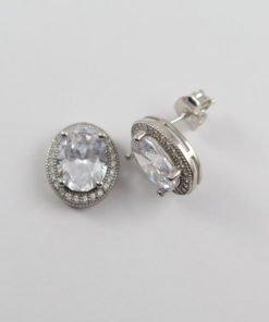 Silver Stud Earrings - 9 x 7mm Oval Cubic Zirconia Halo