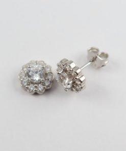 Silver Stud Earrings - 9mm Cubic Zirconia Flower Halo