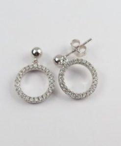Silver Drop Earrings - 20mm Dangling Cubic Zirconia Circle