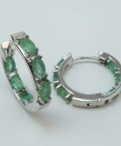 Silver Hoop Earrings - 5x3mm Oval Emerald