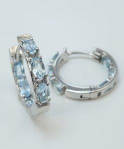 Silver Hoop Earrings - 5x3mm Oval Aquamarine