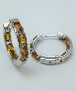 Silver Hoop Earrings - 5x3mm Oval Citrine