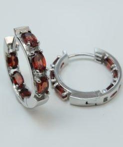 Silver Hoop Earrings - 5x3mm Oval Garnet