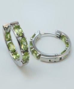 Silver Hoop Earrings - 5x3mm Oval Peridot