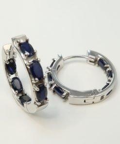 Silver Hoop Earrings - 5x3mm Oval Sapphire