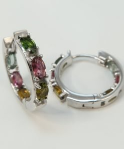 Silver Hoop Earrings - 5x3mm Oval Tourmaline